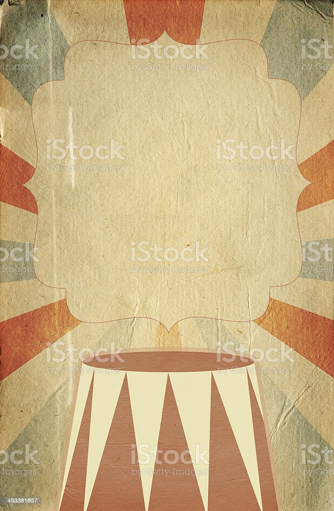 Retro circus style poster template on rhombus background vector art illustration