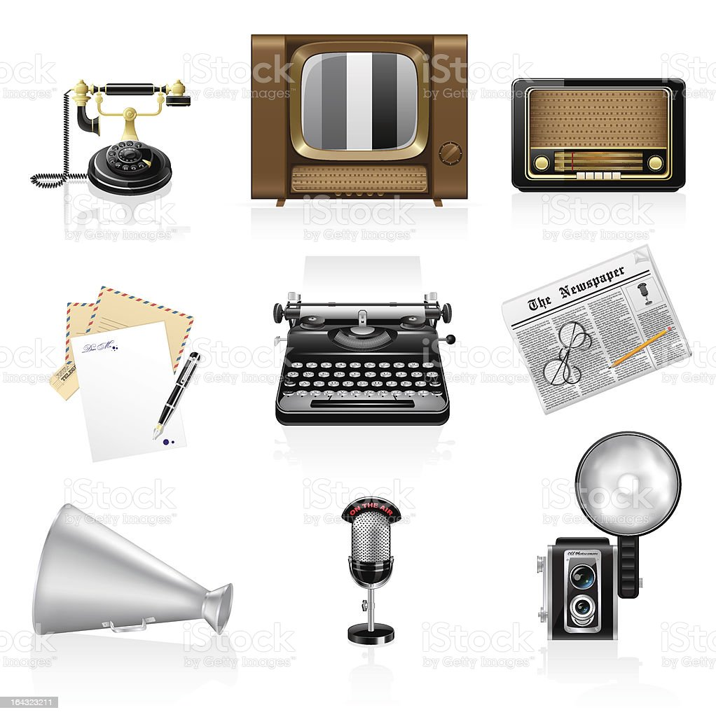 Retro communication icons royalty-free stock vector art