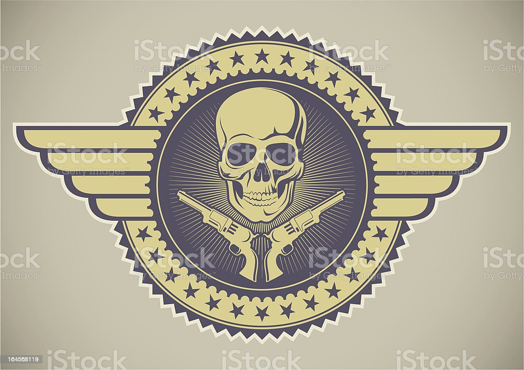 Retro crest with skull and guns. royalty-free stock vector art