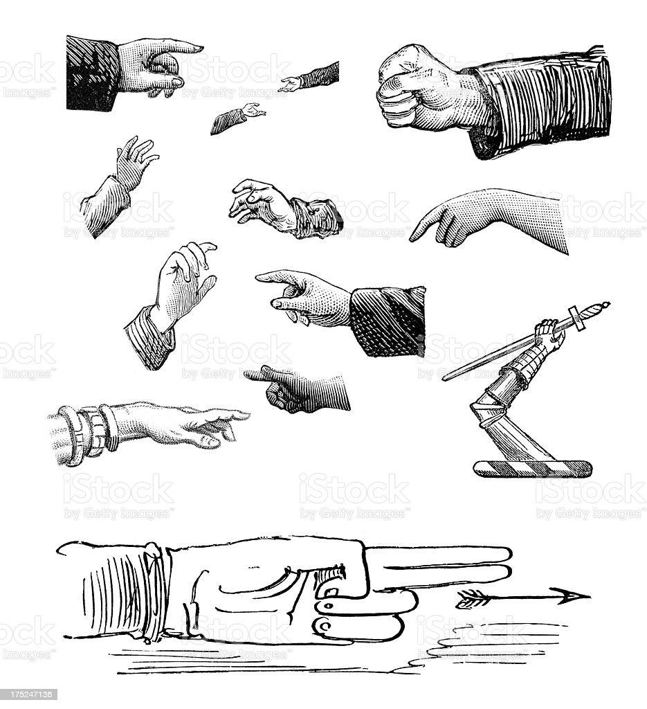 Retro Design Elements - Hands royalty-free stock vector art