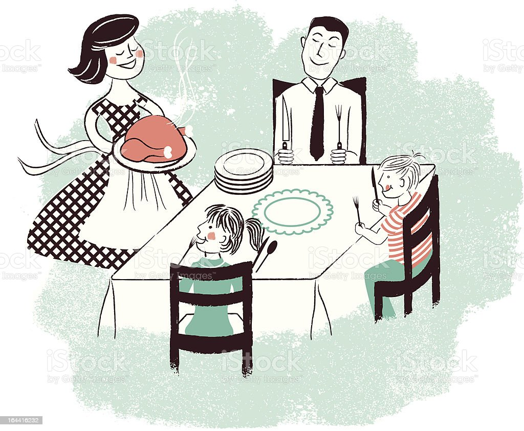 Retro family meal time royalty-free stock vector art