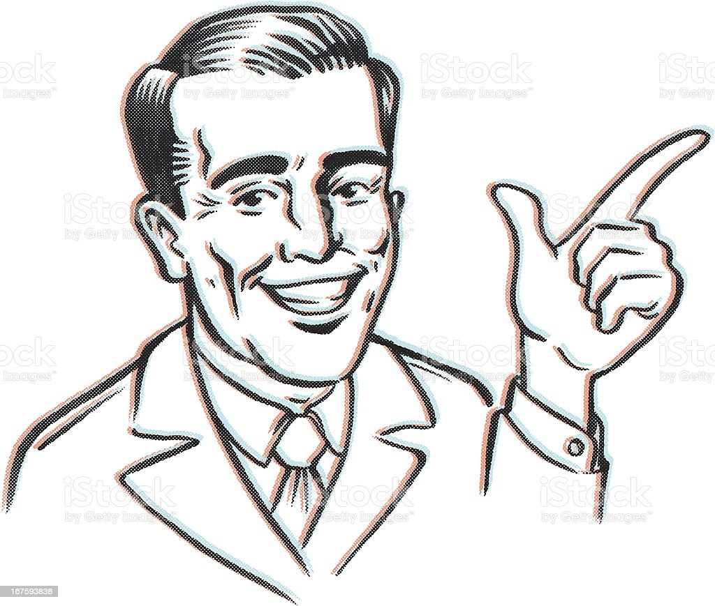 Retro Finger Pointing vector art illustration