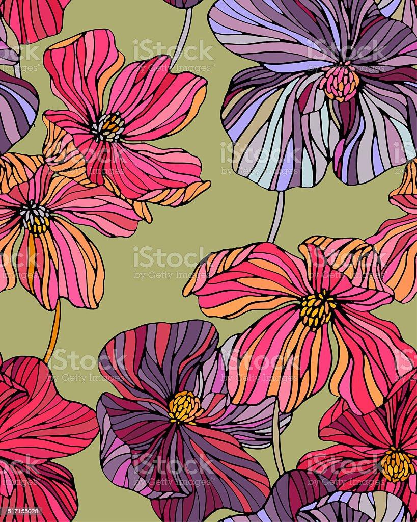 retro flowers stock photo