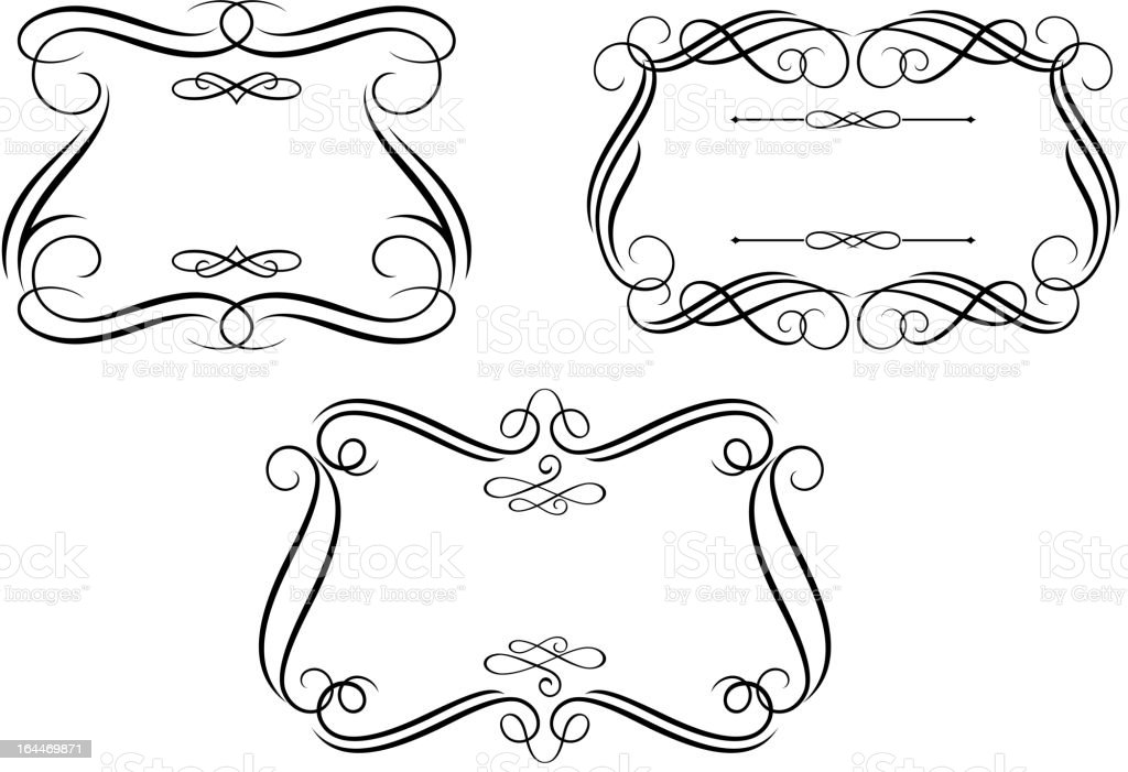 Retro frames in calligraphic style royalty-free stock vector art