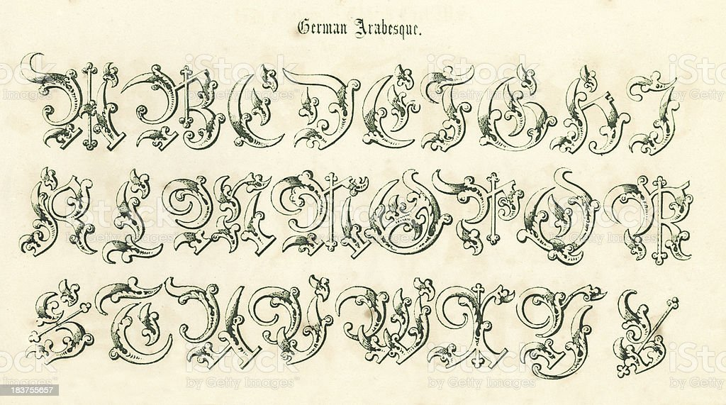 Retro German Arabesque Script vector art illustration