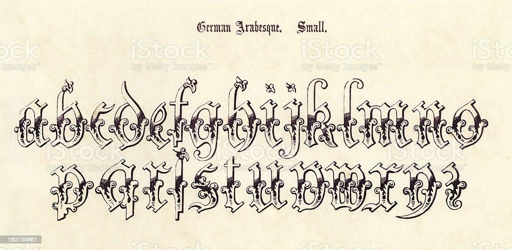 Retro German Arabesque Script royalty-free stock vector art