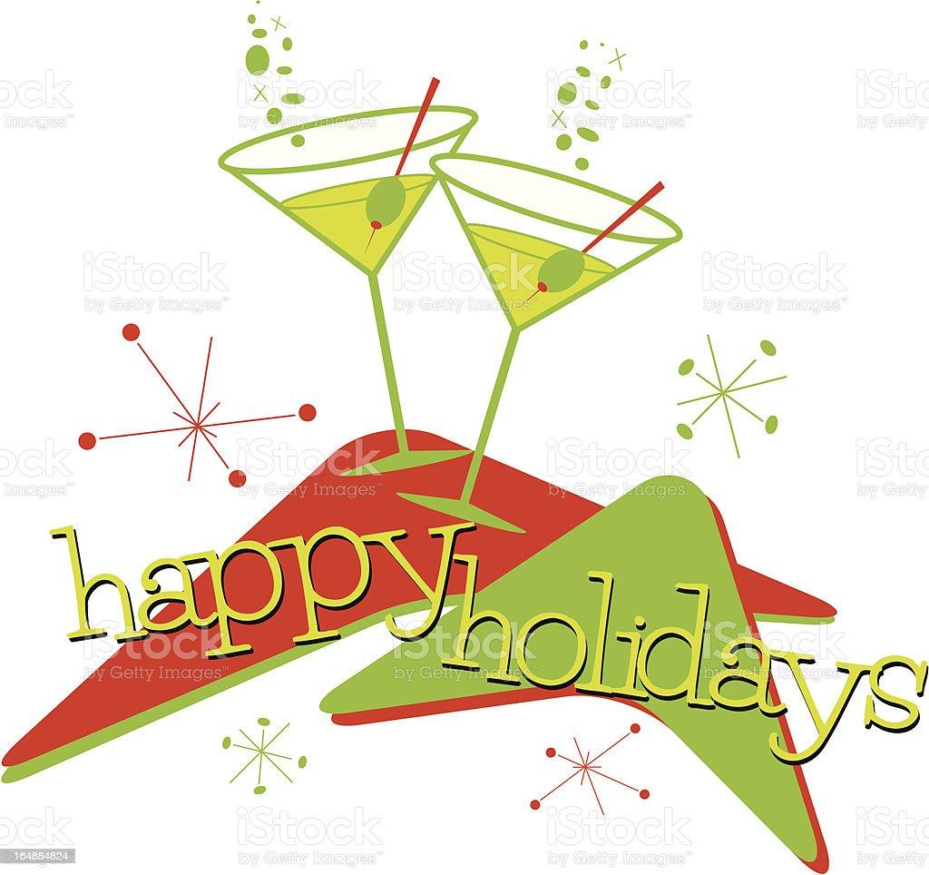Retro Holiday Martinis vector art illustration