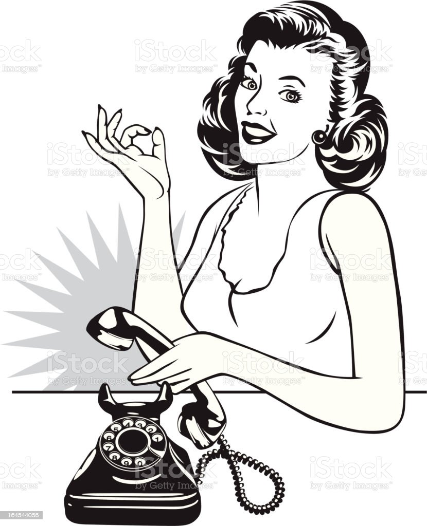 retro housewife and phone vector art illustration