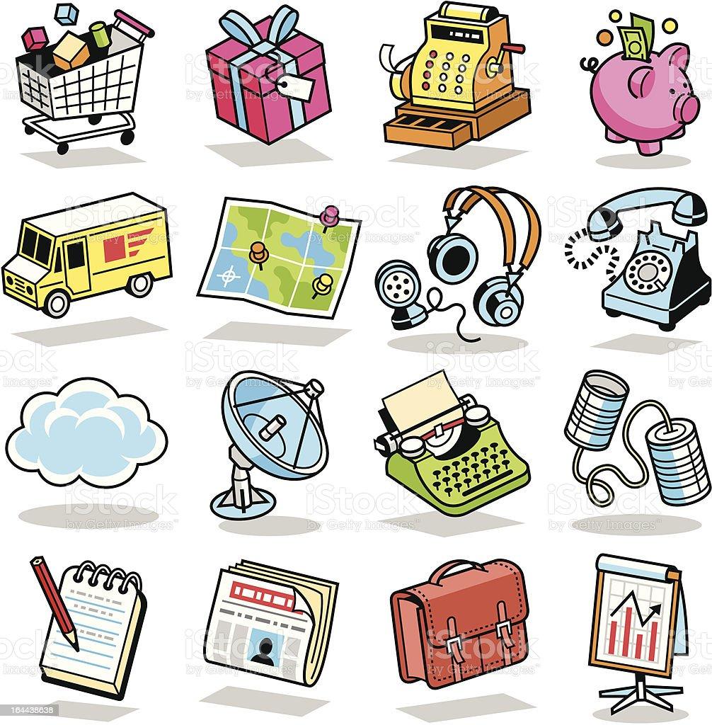 Retro Internet, Technology & Communication Icons 3 vector art illustration