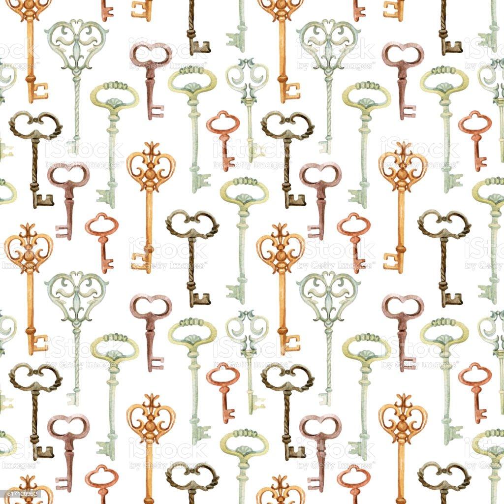 Retro keys seamless pattern vector art illustration