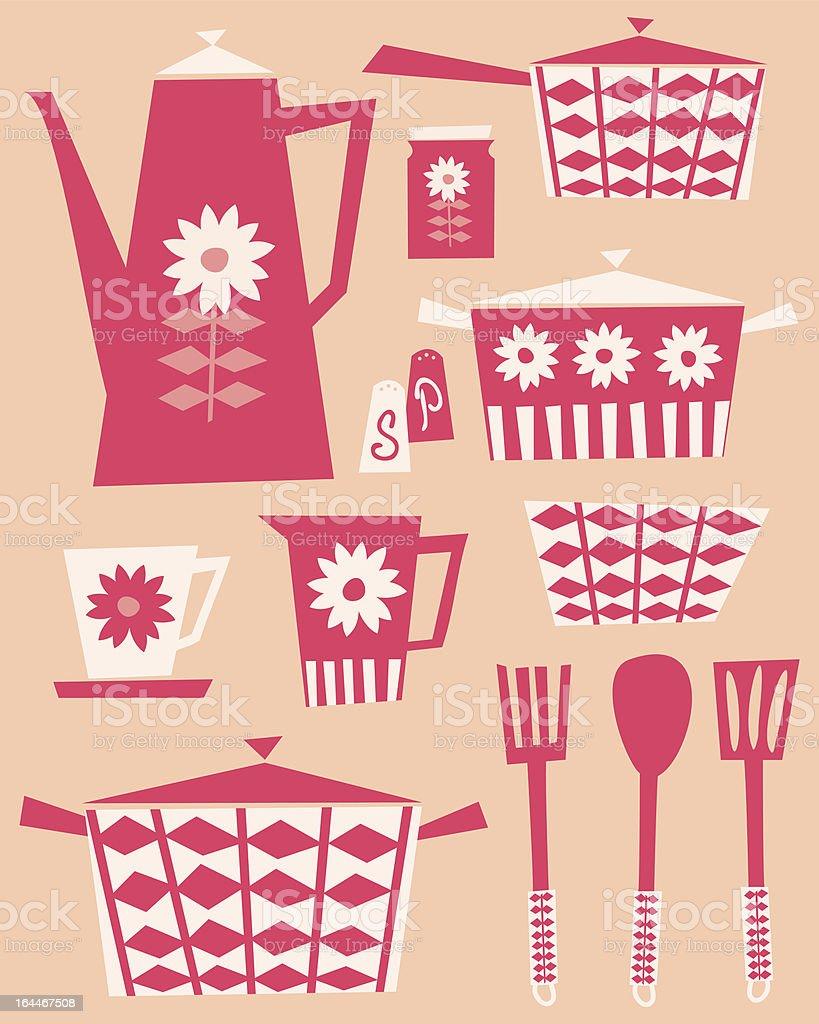 Retro Kitchen Set royalty-free stock vector art