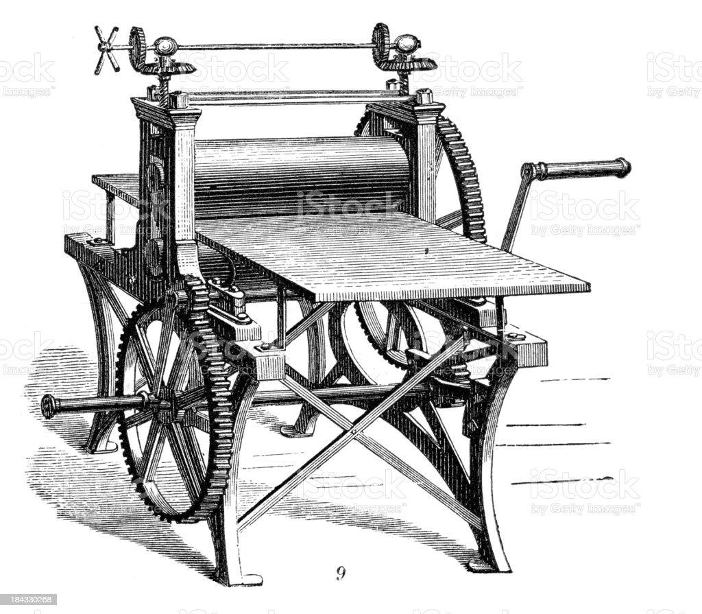 Retro Machinery -  Burnishing machine vector art illustration