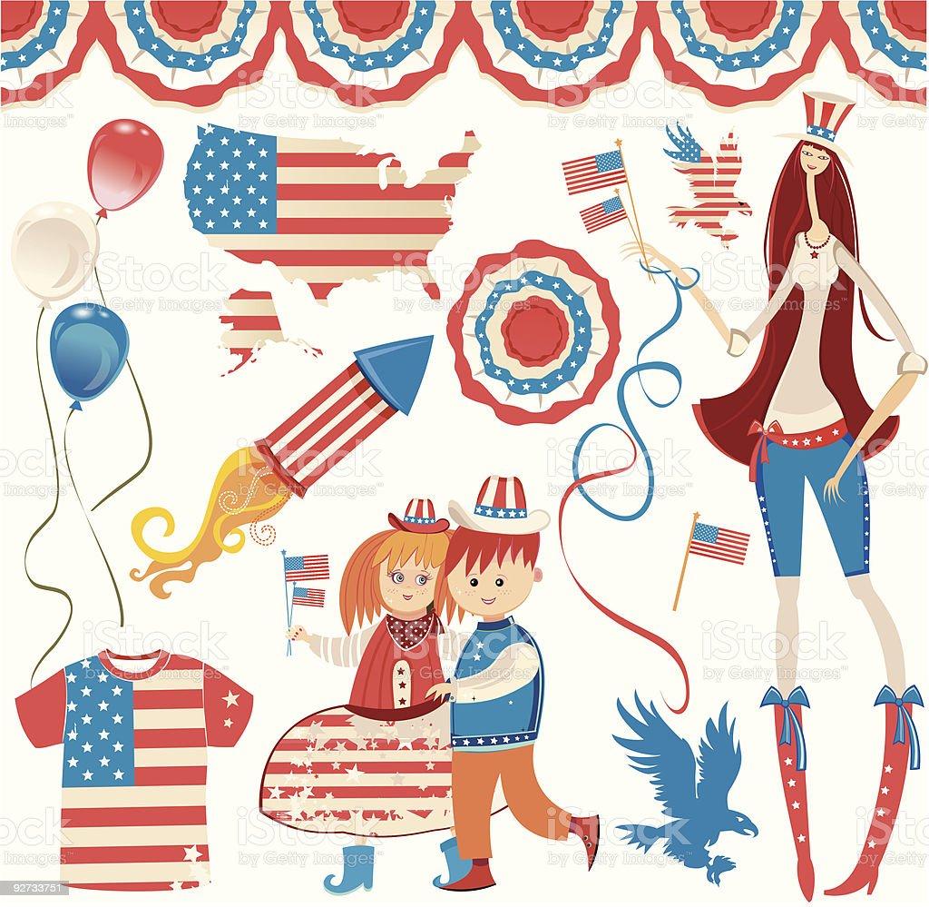 Retro National American symbolics royalty-free stock vector art