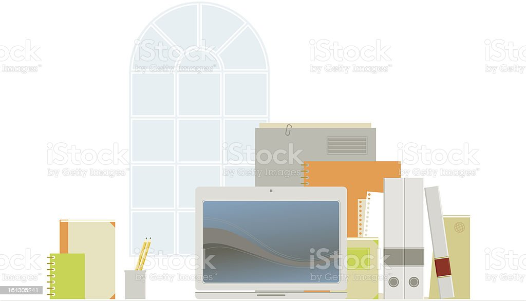 Retro Office With Laptop royalty-free stock vector art