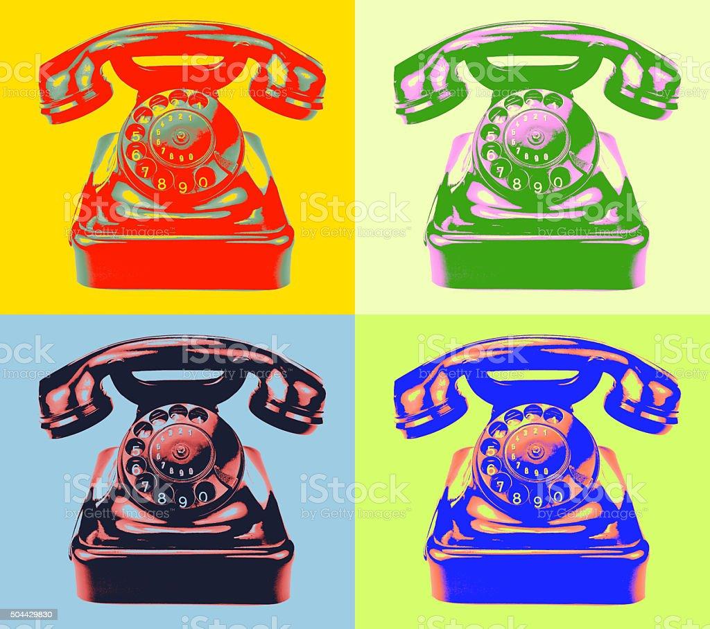 Retro phone. pop-art style image vector art illustration