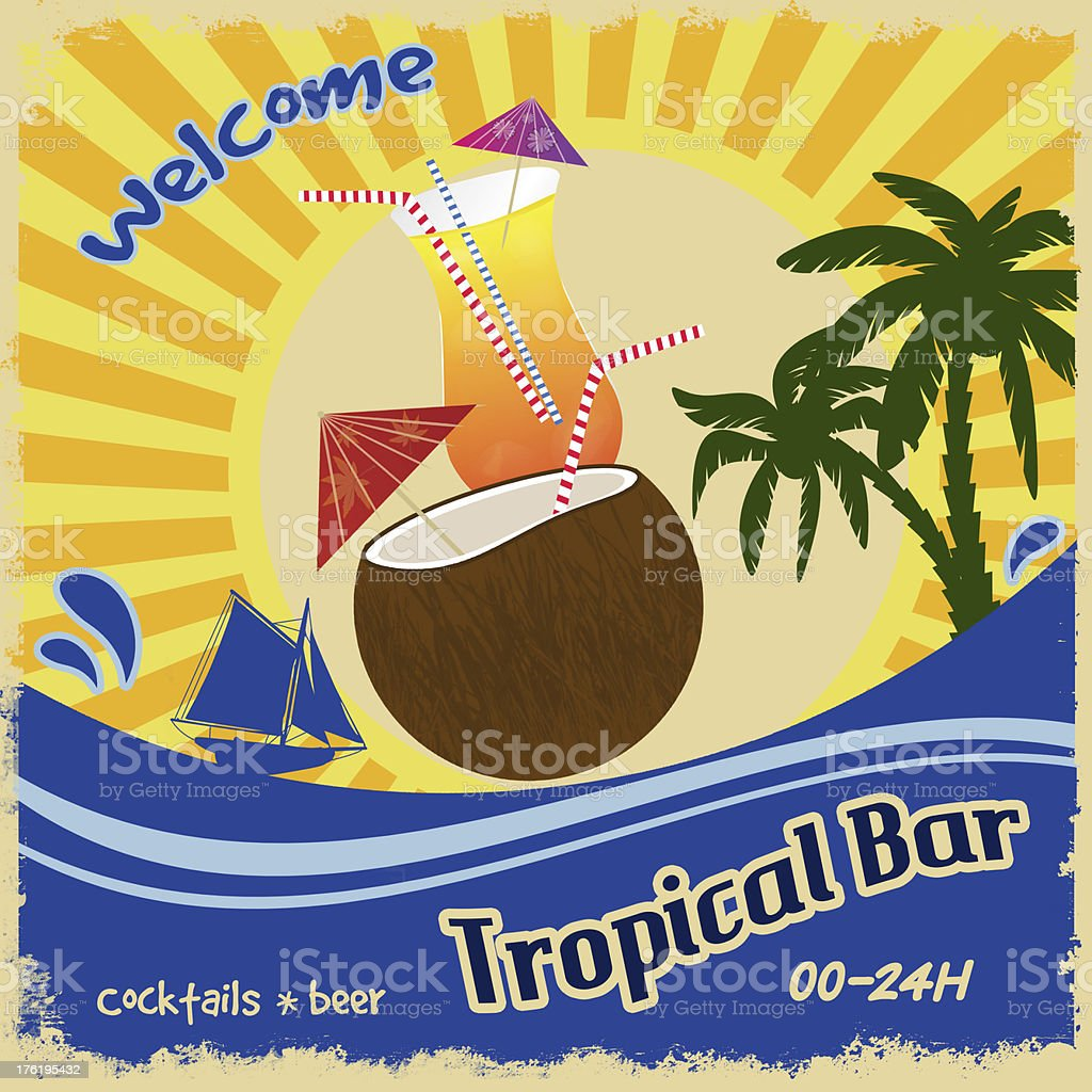 Retro poster  for tropical bar royalty-free stock vector art