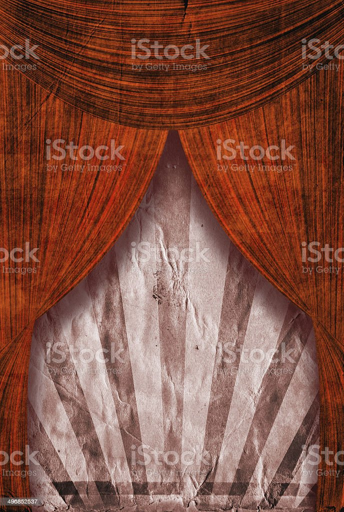 Retro revival sunbeam poster background behind red curtains vector art illustration