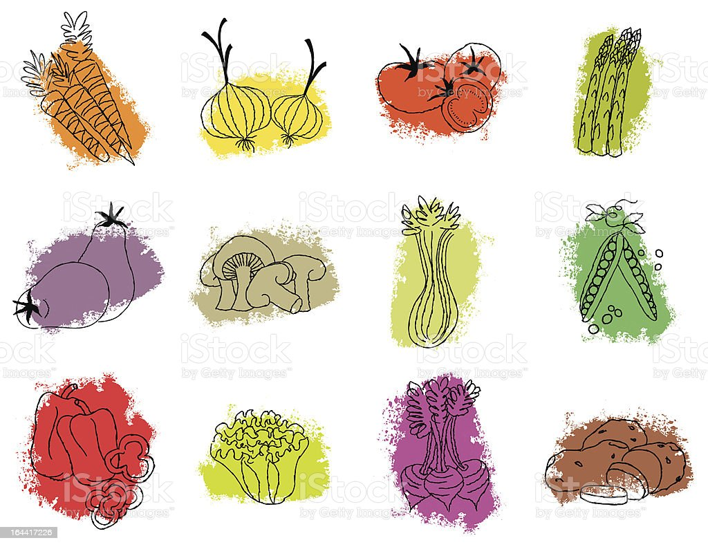 Retro scribble vegetable icons vector art illustration