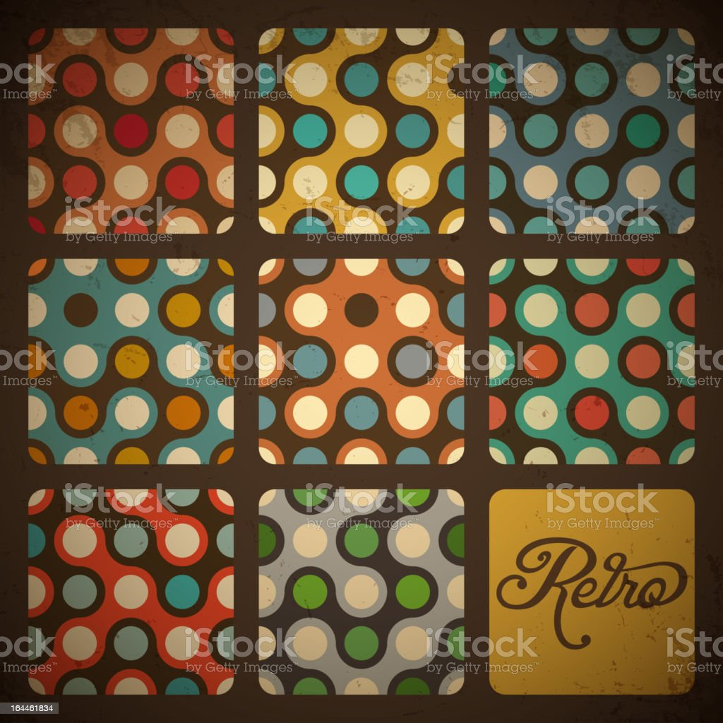 Retro Seamless pattern set. royalty-free stock vector art