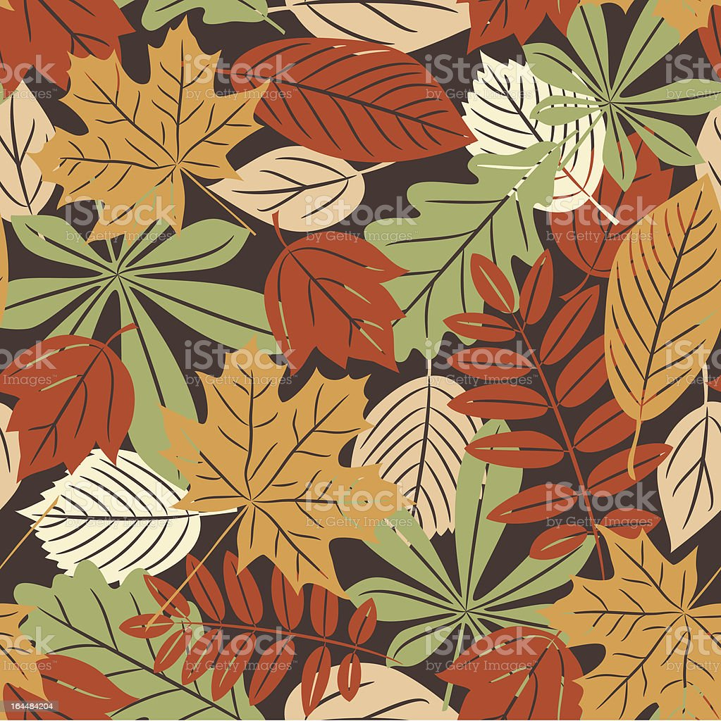 Retro seamless pattern with autumn leaves royalty-free stock vector art