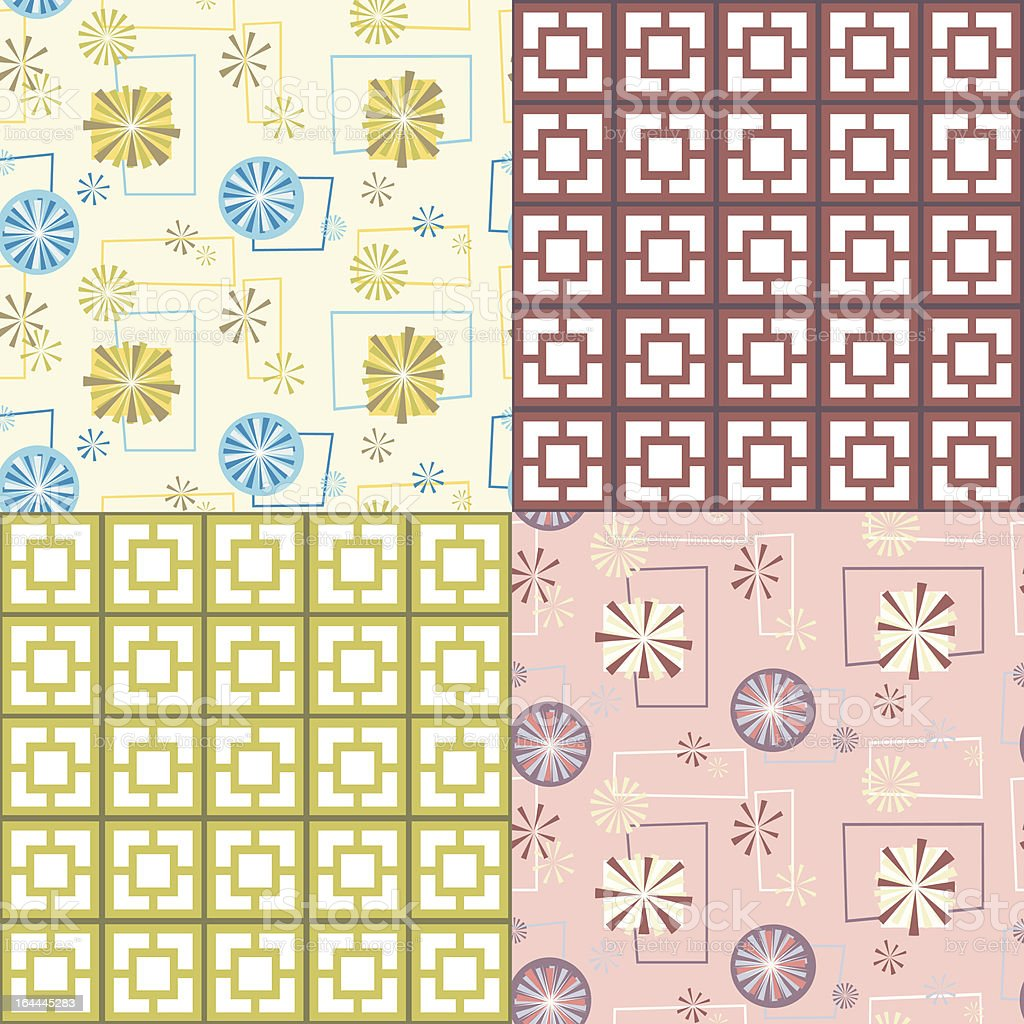 Retro Seamless Patterns vector art illustration