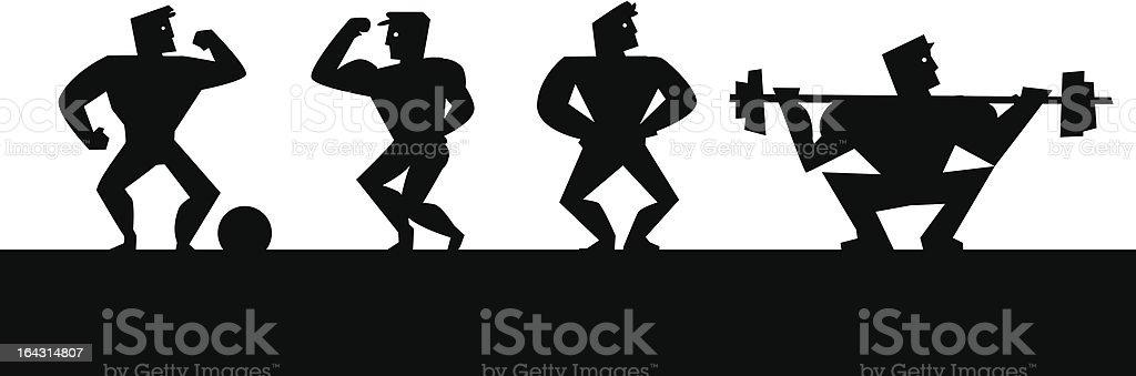 Retro strong men royalty-free stock vector art