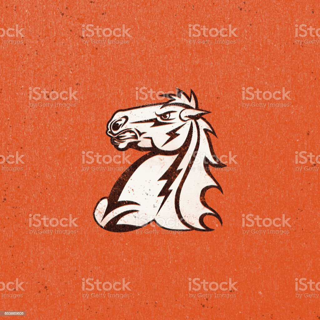 Retro Style Horse with Texture and Patterned Background vector art illustration