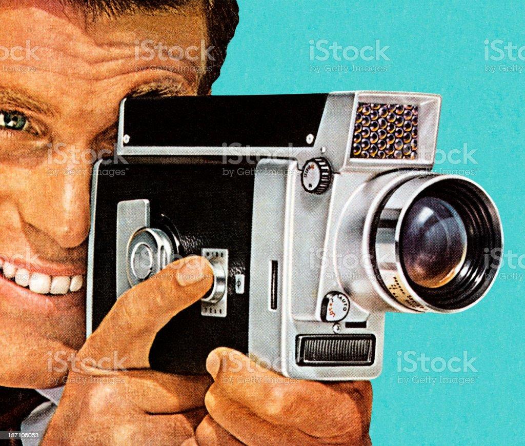 Retro style painting of man using vintage video camera vector art illustration