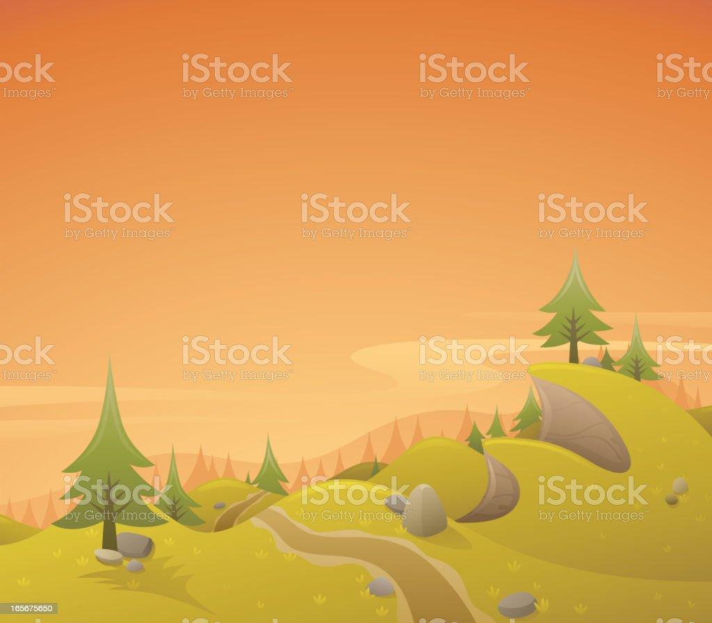Retro Sunset Landscape royalty-free stock vector art