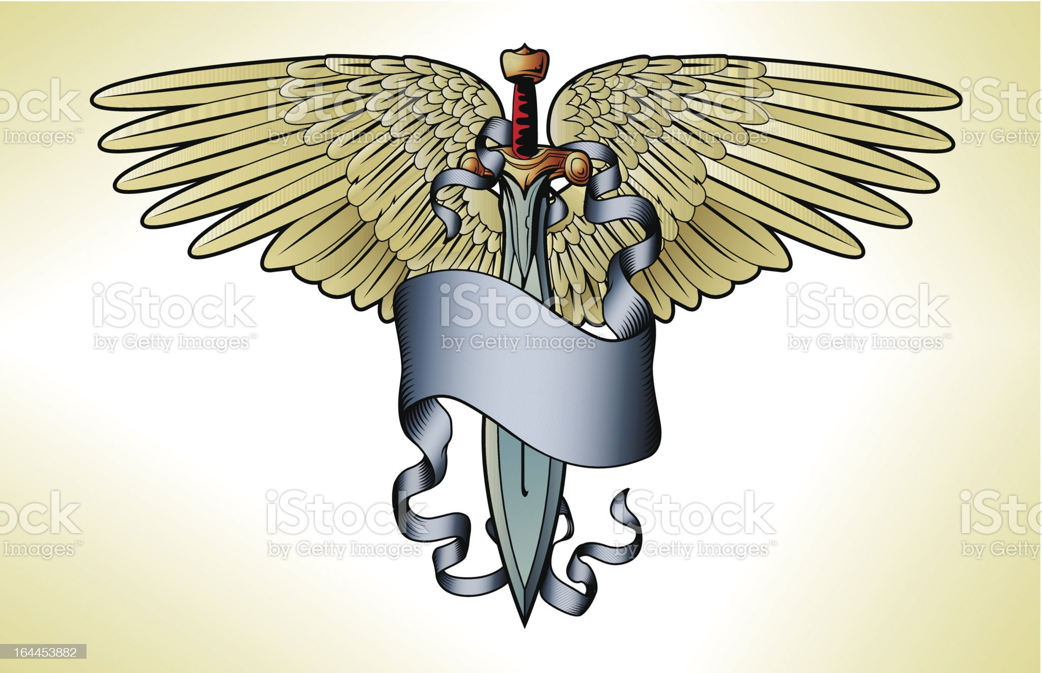 Retro sword banner tattoo royalty-free stock vector art