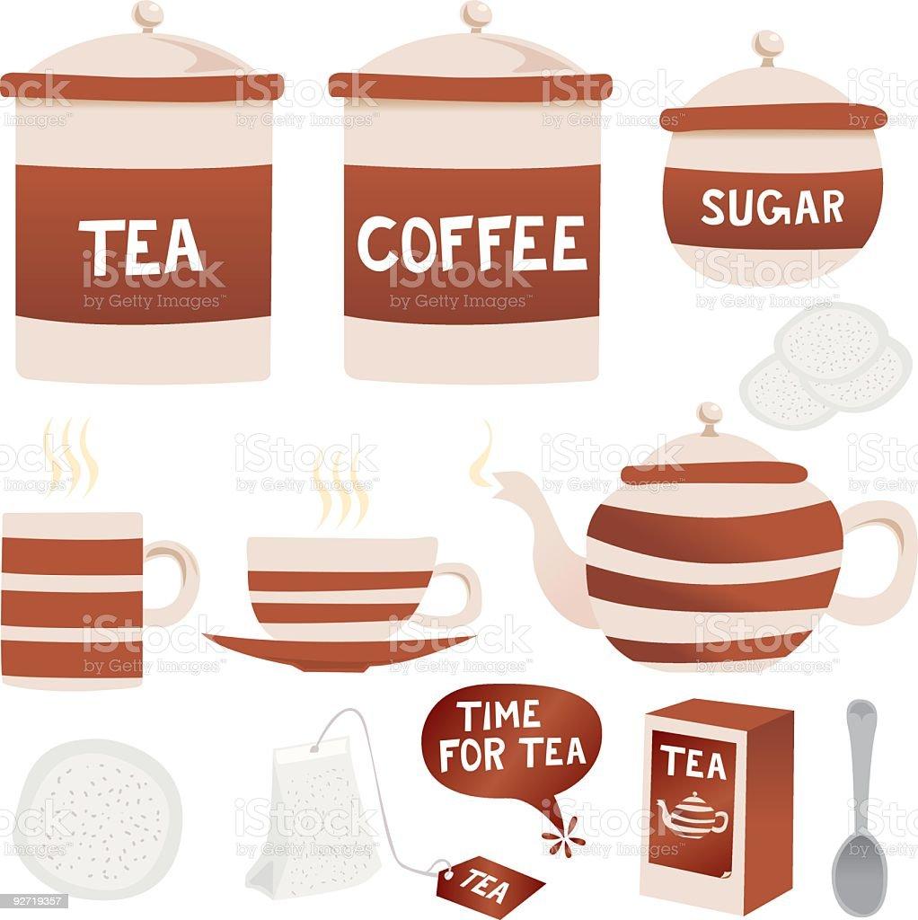 Retro tea and coffee icons royalty-free stock vector art