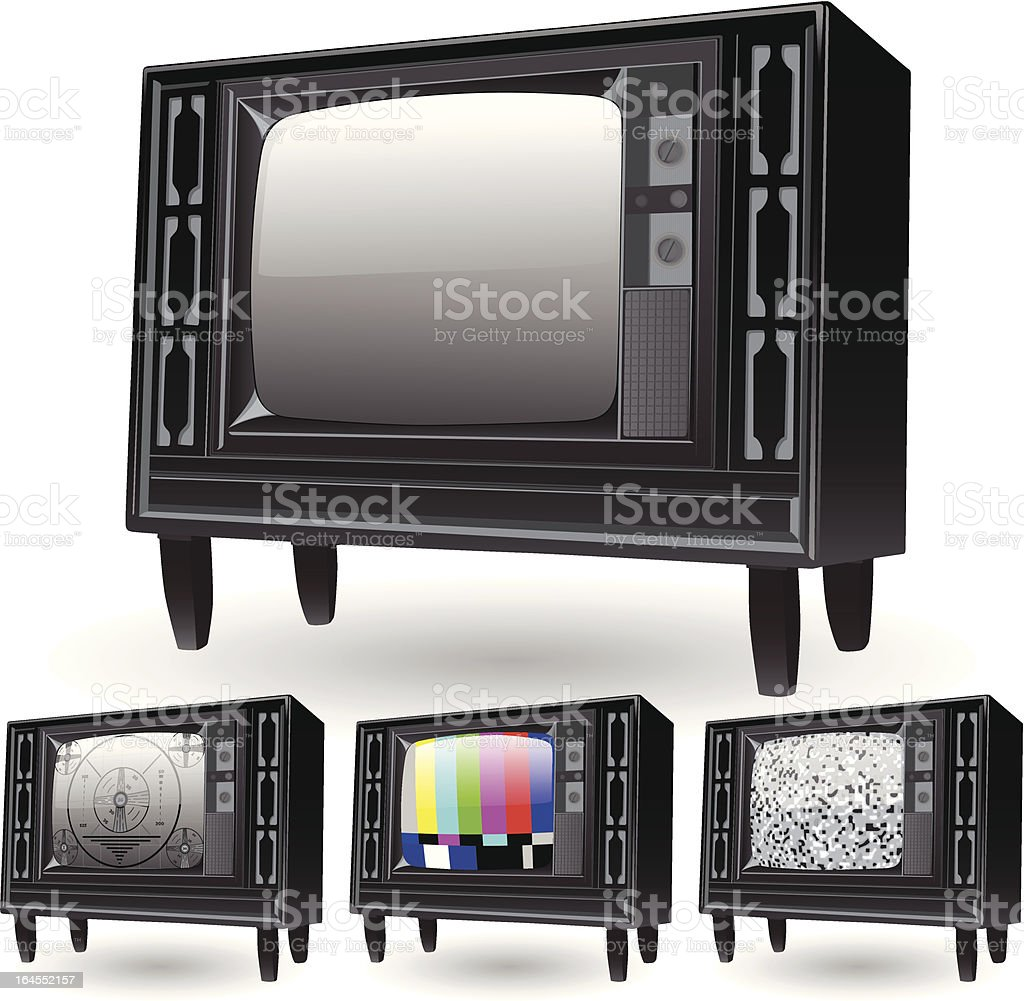 Retro TVs vector art illustration