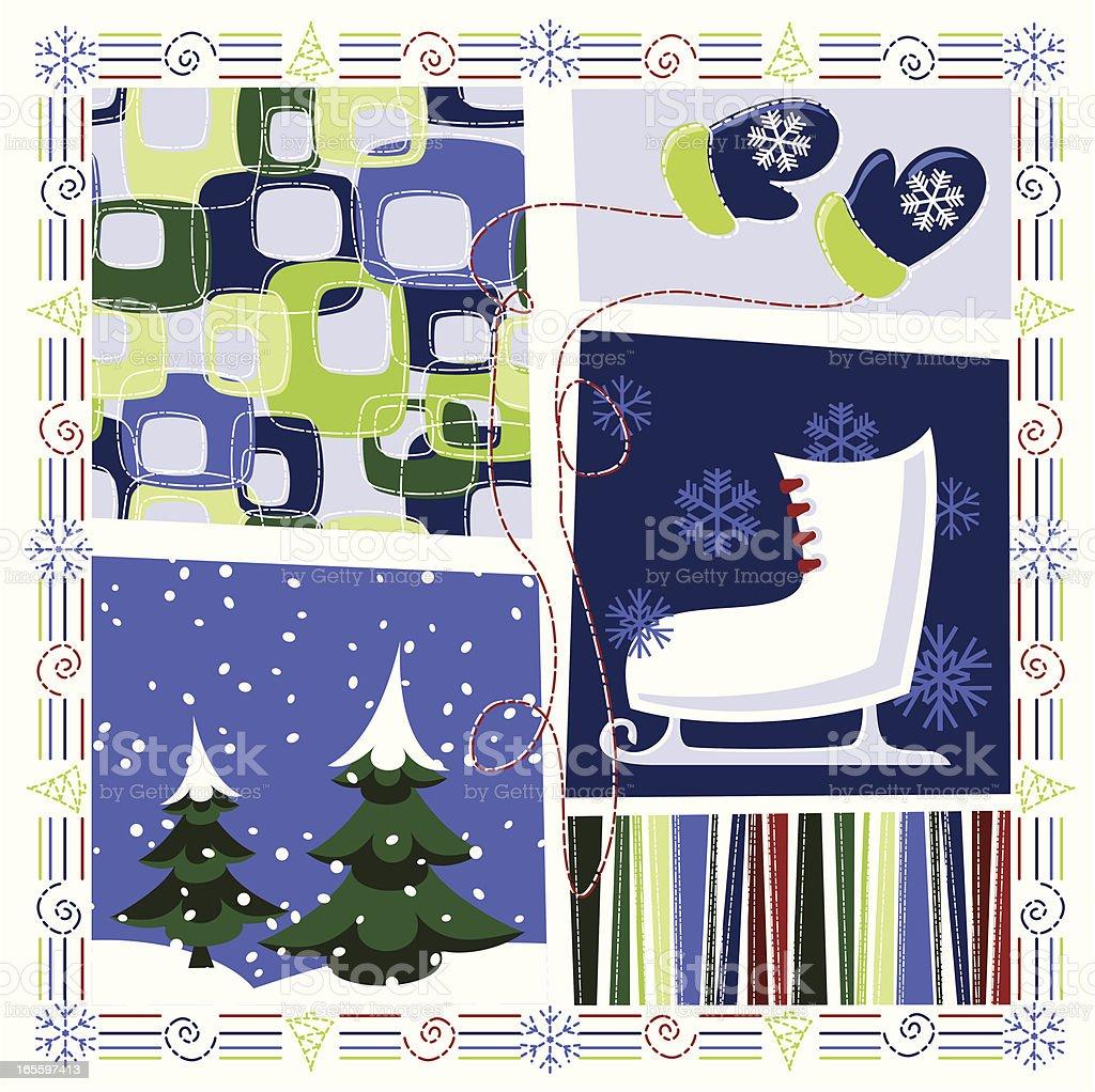 retro Winter vector art illustration