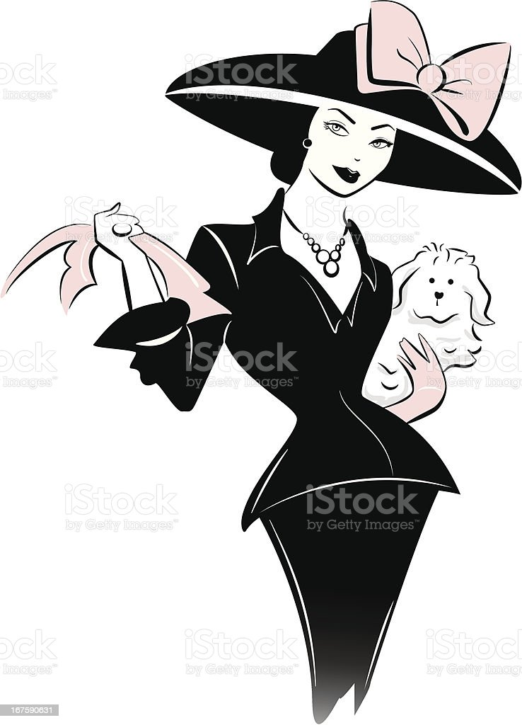 Retro woman with hat vector art illustration