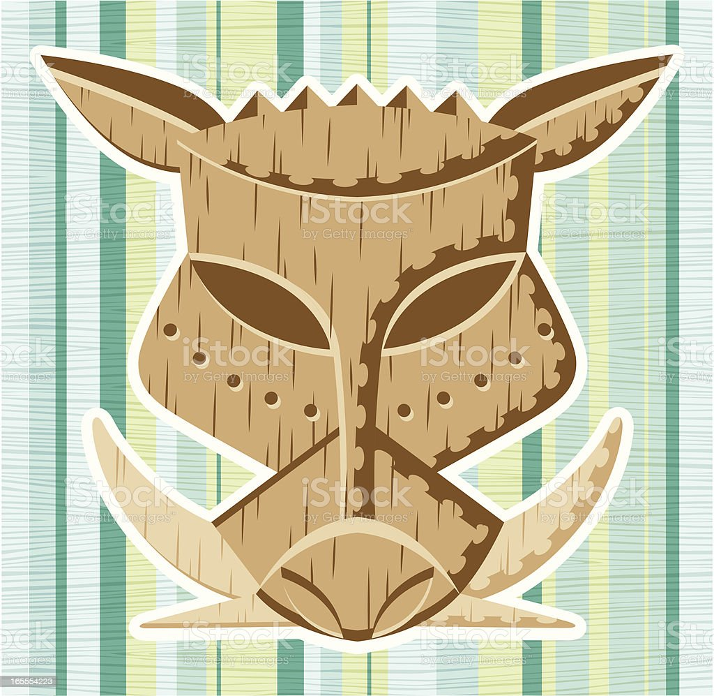 Retro Wooden Tiki Pig Mask vector art illustration