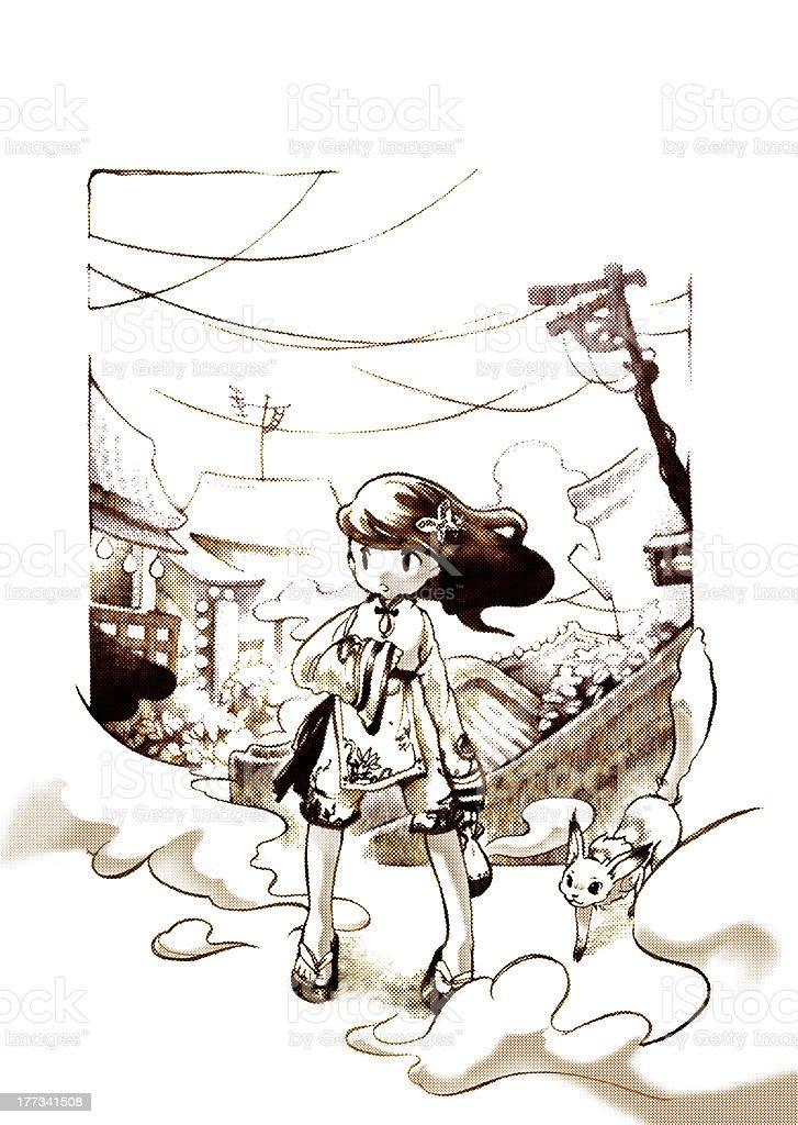 Retro-looking girl royalty-free stock vector art