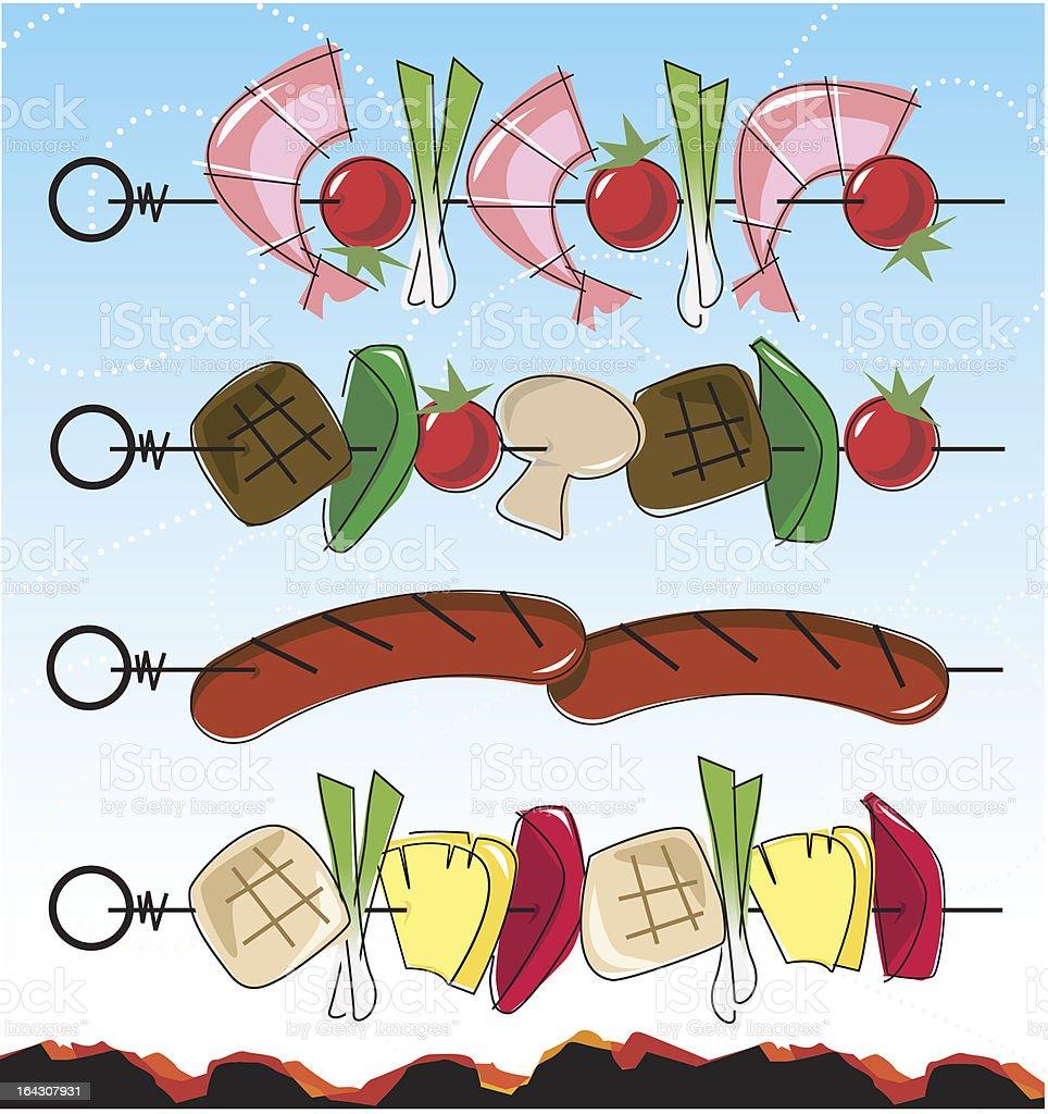Retro-style BBQ Kebabs vector art illustration