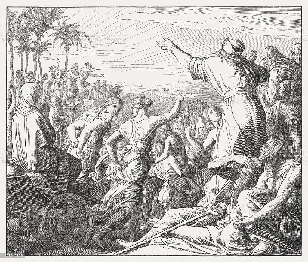 Return of the Israelites from the Babylonian captivity (Ezra 1) vector art illustration