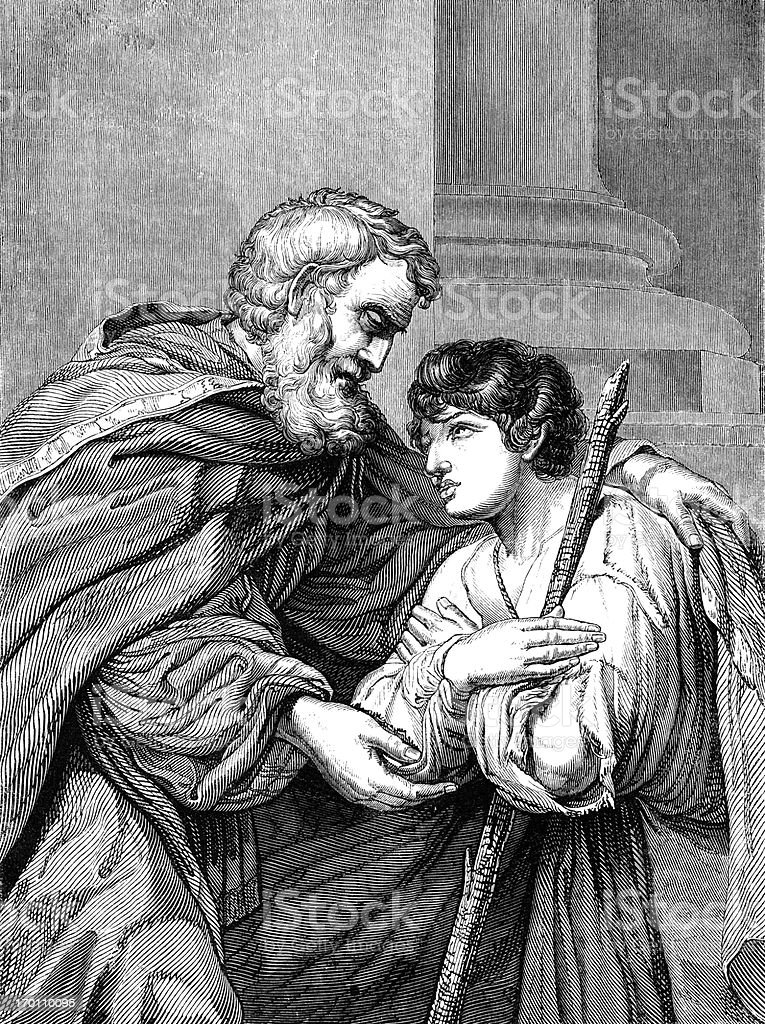 Return of the Prodigal Son (Victorian woodcut) royalty-free stock vector art