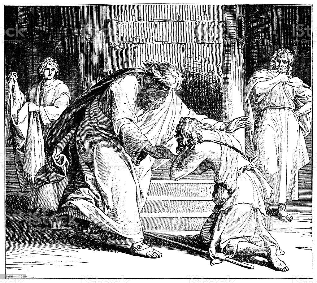 Return of the Prodigal Son (Victorian engraving) vector art illustration