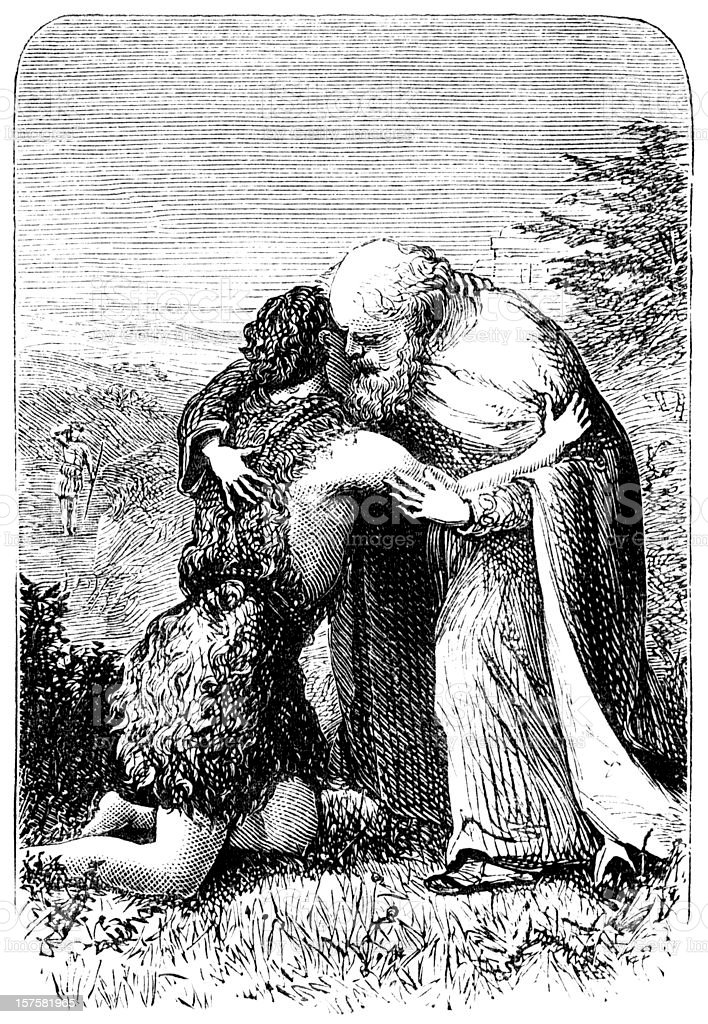 Return of the Prodigal Son - Victorian engraving vector art illustration