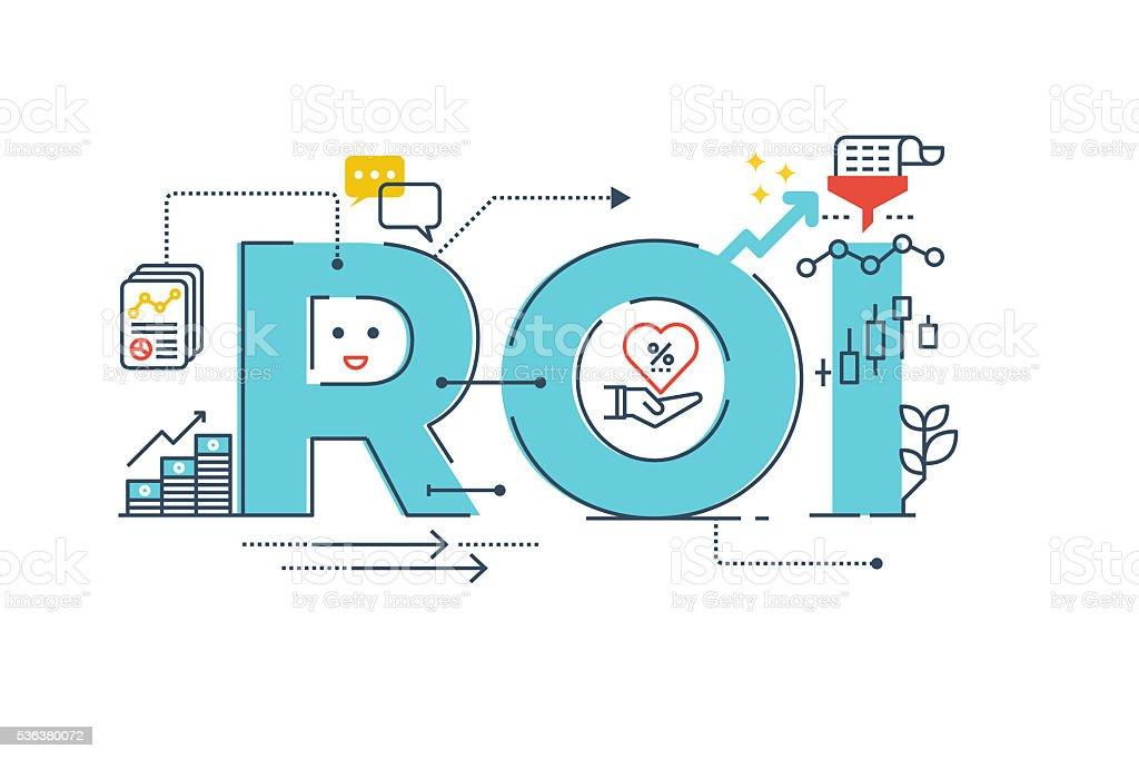 Return on investment word design vector art illustration