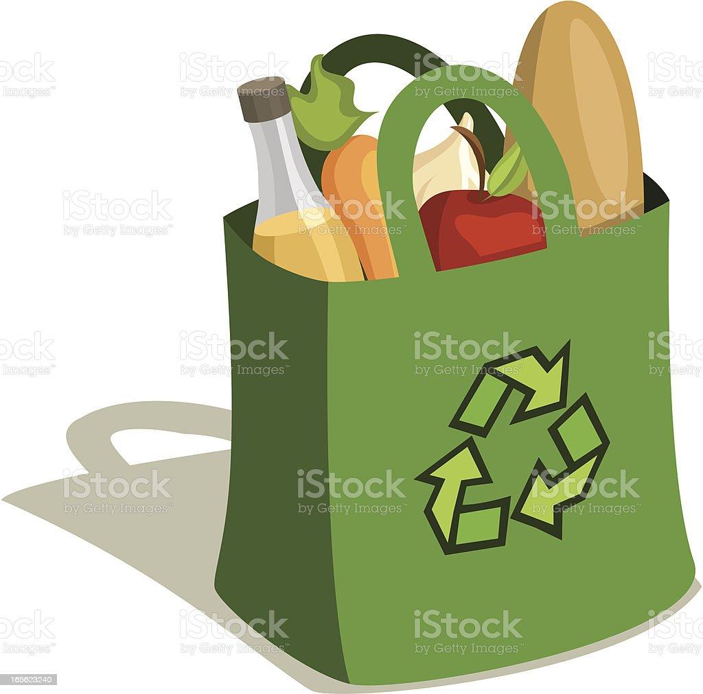 Reusable Grocery Bag Full of Food vector art illustration