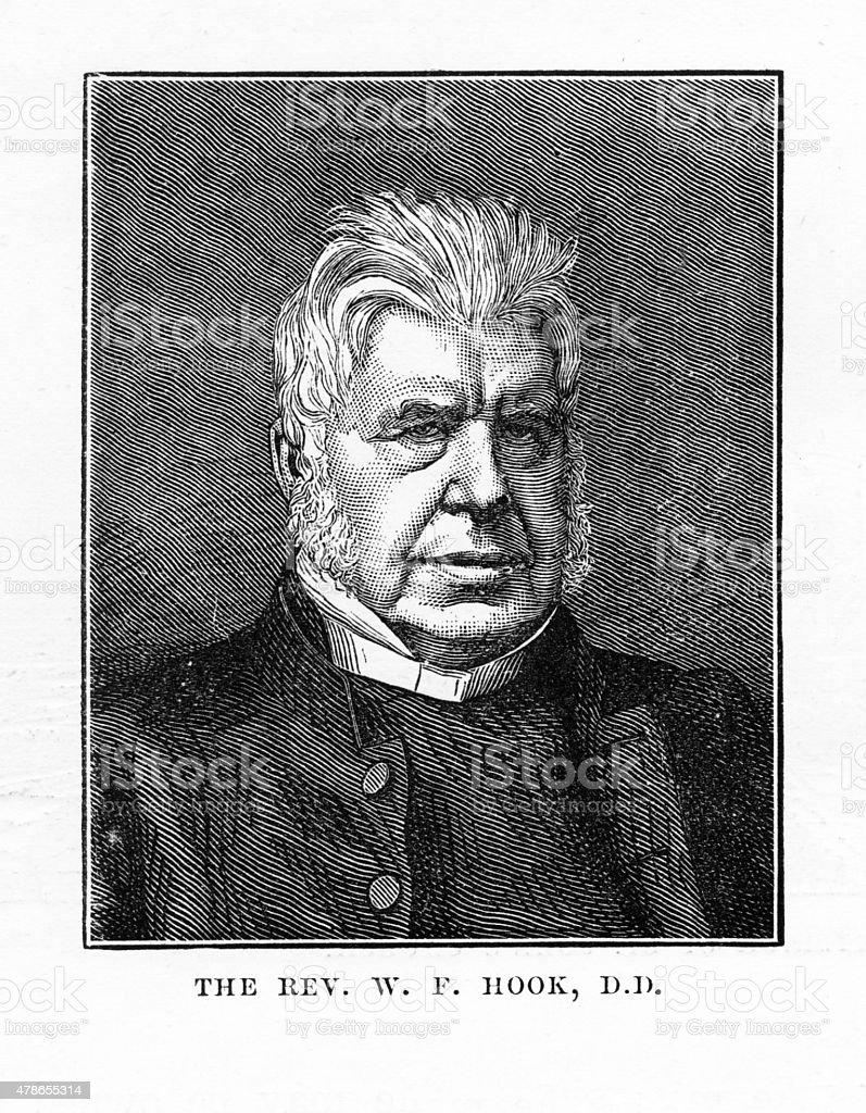 Reverend W.F. Hook Victorian Engraving vector art illustration