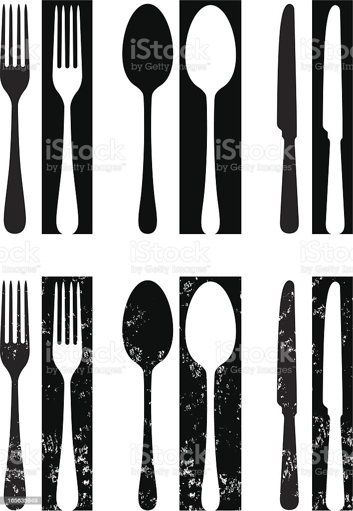 Reversed out cutlery two royalty-free stock vector art