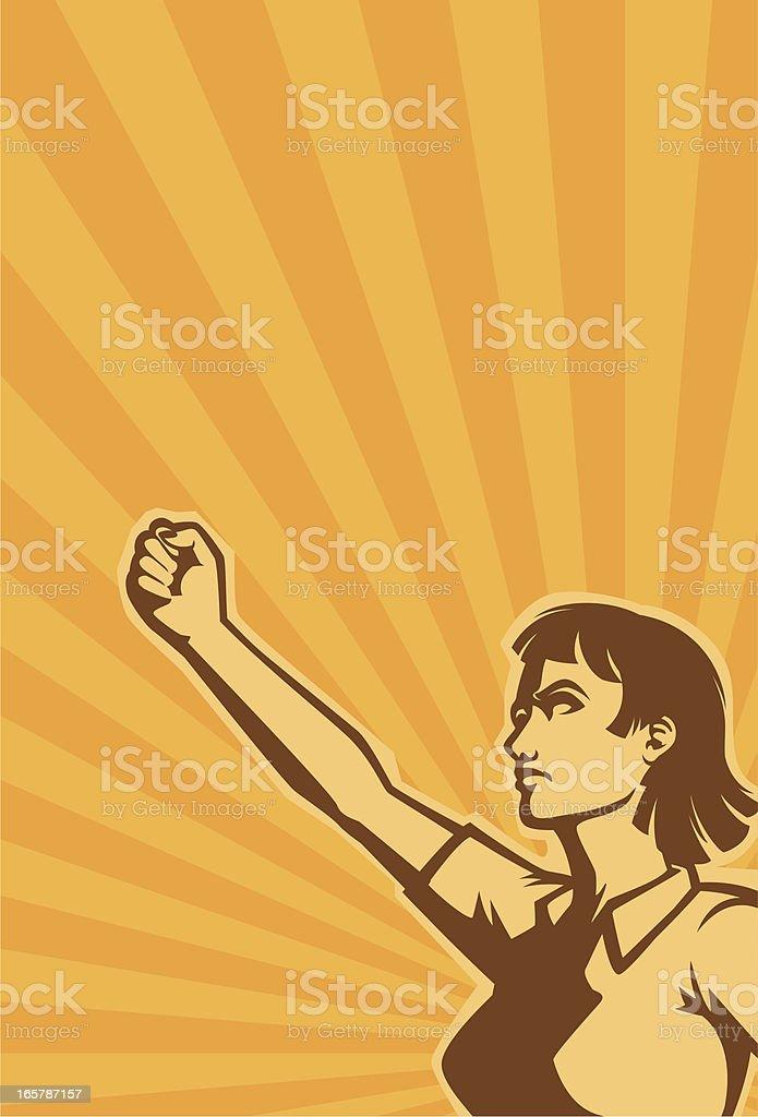 revolution woman vector art illustration
