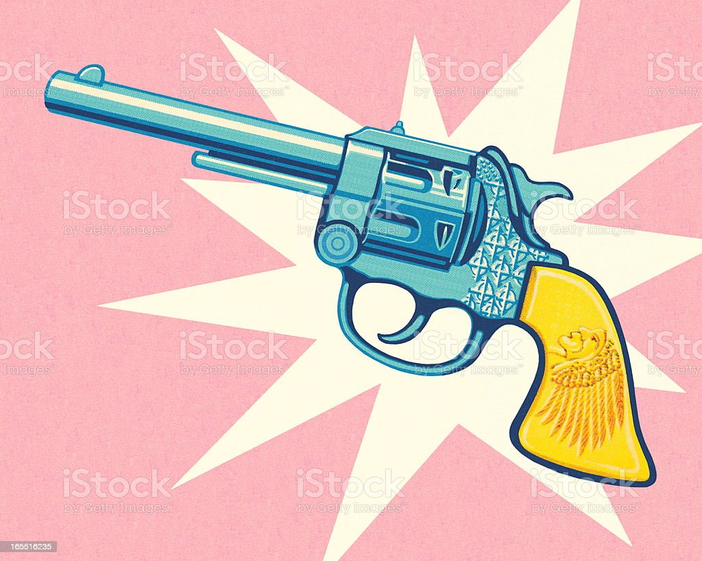 Revolver on a Pink Background royalty-free stock vector art