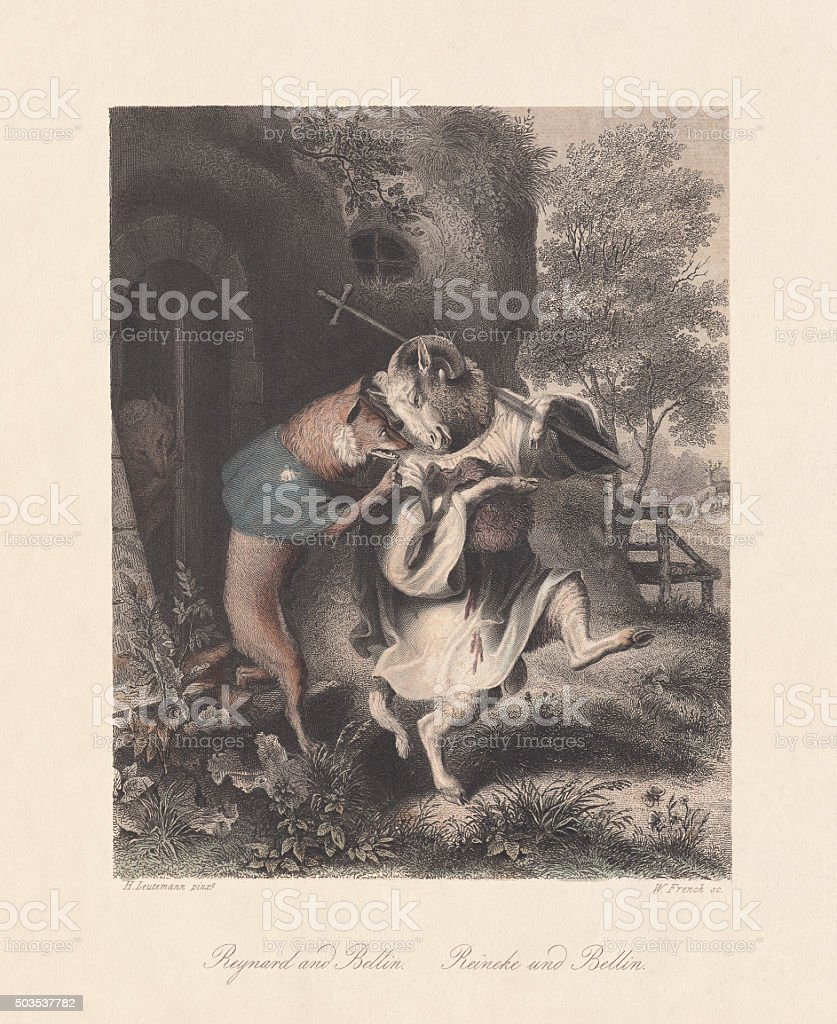 Reynard and Bellin. Scene from 'Reynard the Fox', published c.1855 vector art illustration