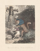 Reynard and the Coney. From 'Reynard the Fox', published c.1855