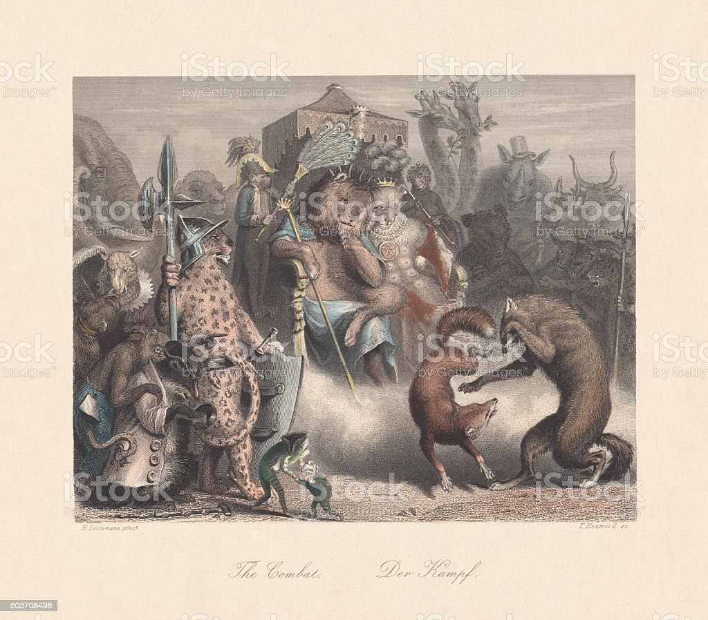 Reynard defeated Isegrim. Scene from 'Reynard the Fox', published c.1855 vector art illustration